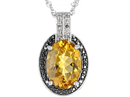 Photo of 5.02ct Oval Citrine With Champagne & White Diamond Accent Rhodium Over Silver Pendant W/ Chain