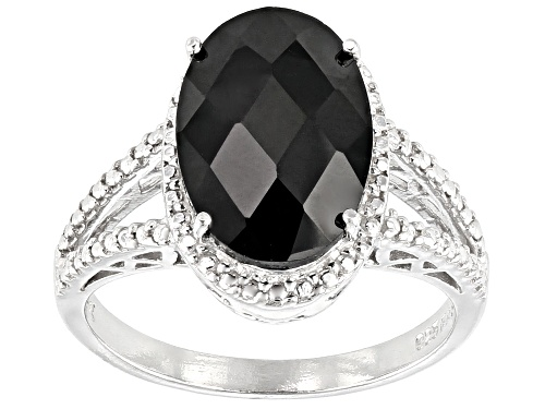 Photo of 4.40ctw Oval black spinel with .01ctw round diamond accent rhodium over sterling silver ring - Size 6