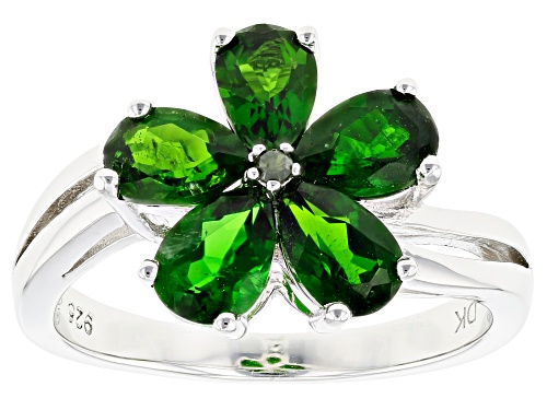 Photo of 1.79ctw Pear Shape Chrome Diopside & One Green Diamond Accent Rhodium Over Silver Flower Ring - Size 9
