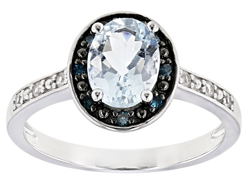 Photo of .94ct Oval Aquamarine With Blue Diamond Accent & .08ctw Zircon Rhodium Over Silver Halo Ring - Size 8