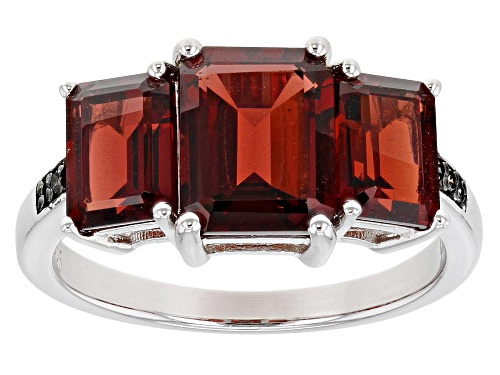 Photo of 4.83ctw Emerald Cut Vermelho Garnet(TM) With Champagne Diamond Accent Rhodium Over Silver Ring - Size 7