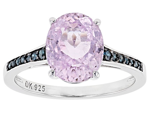 Photo of 2.77ct Oval Kunzite With Blue Diamond Accent Rhodium Over Sterling Silver Ring - Size 8