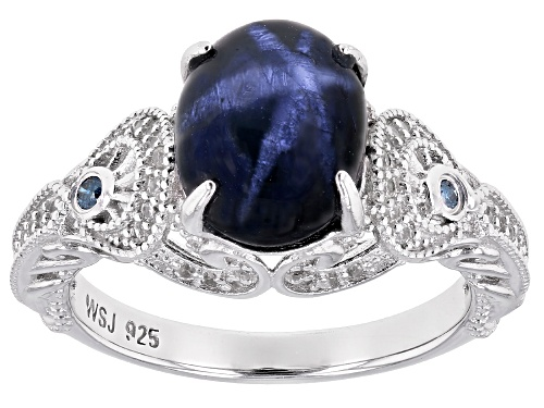 Photo of 3.77ct Blue Star Sapphire & .35ctw White Zircon & .03ctw Two Diamond Accent Rhodium Over Silver Ring - Size 7