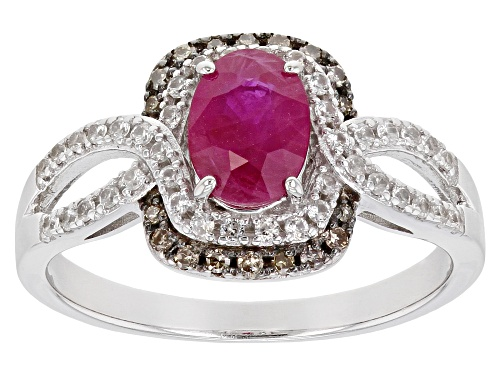 Photo of .81ct Burmese Ruby, .08ctw Champagne Diamond Accent & .24ctw White Zircon Rhodium Over Silver Ring - Size 7