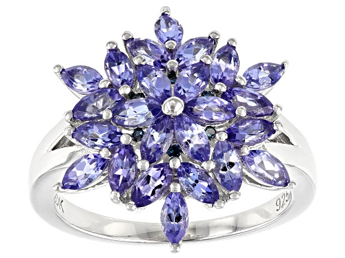 Photo of 2.07ctw Marquise Tanzanite with .03ctw Round Blue Diamond Accent Rhodium Over Silver Ring - Size 10