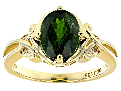 Photo of 1.63ct Oval Chrome Diopside With .02ctw Round White Diamond Accent 18K Gold Over Silver Ring - Size 8