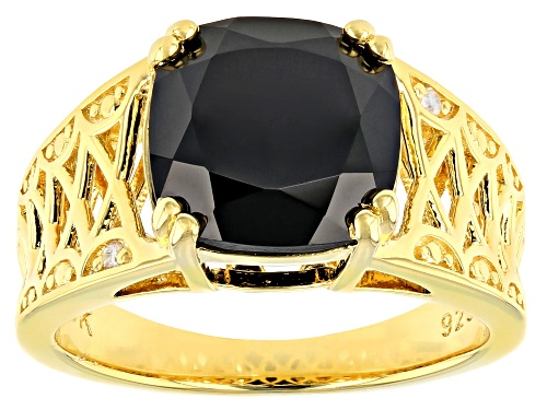 Photo of 4.52ct Cushion Black Spinel & Two Diamond Accent 18k Gold Over Silver Ring - Size 7
