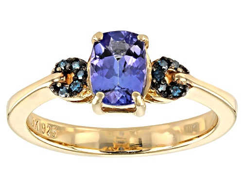Photo of .77ct Rectangular Cushion Tanzanite With .04ctw Blue Diamond Accent 18k Yellow Gold Over Silver Ring - Size 9