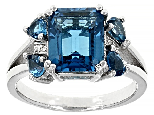 Photo of 4.08ctw Emerald Cut & Pear Shape London Blue Topaz with Diamond Accent Rhodium Over Silver Ring - Size 8