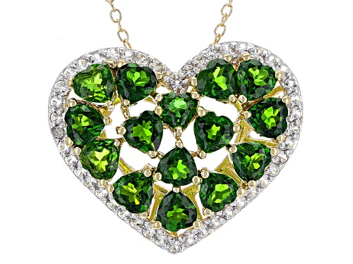 Photo of 4.70ctw Russian Chrome Diopside & 1.04ctw White Topaz 18k Gold Over Silver Heart Pendant With Chain