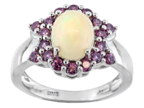Photo of .85ct Oval Cabochon Ethiopian Opal With .87ctw Round Rhodolite Garnet Sterling Silver Ring - Size 11