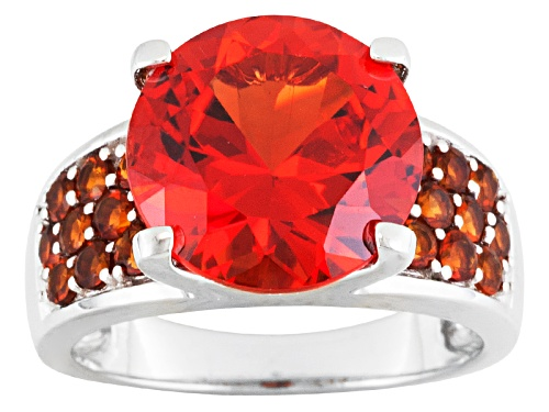Photo of 6.54ct Round Lab Created Padparadscha Sapphire With .68ctw Round Citrine Silver Ring - Size 12