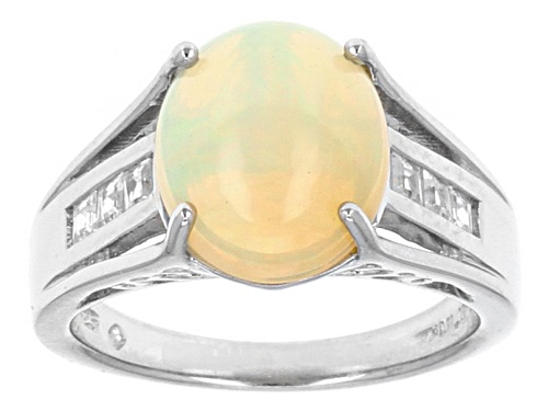 Photo of 2.16ct Oval Ethiopian Opal With .24ctw Square White Zircon Sterling Silver Ring - Size 5
