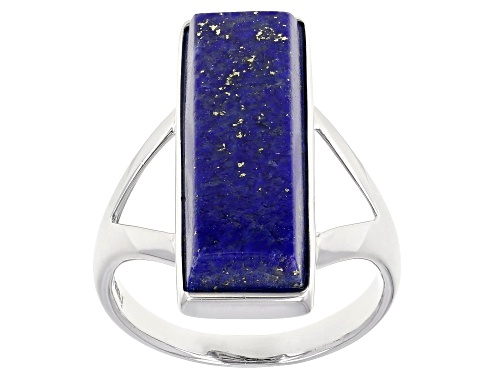 Photo of 21x7mm Rectangular Lapis Lazuli Rhodium Over Sterling Silver Ring - Size 7