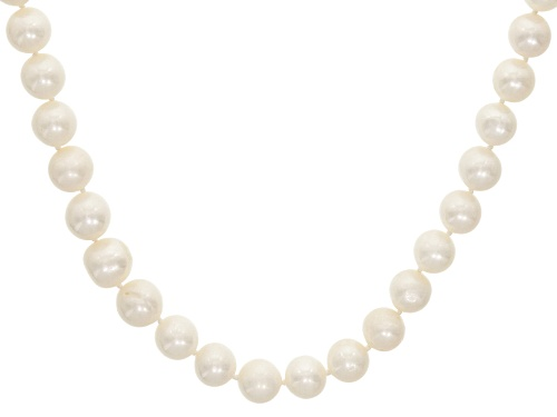 Photo of 10-13mm Grande White Cultured Freshwater Pearl Rhodium Over Sterling Silver 21 Inch Strand Necklace - Size 21