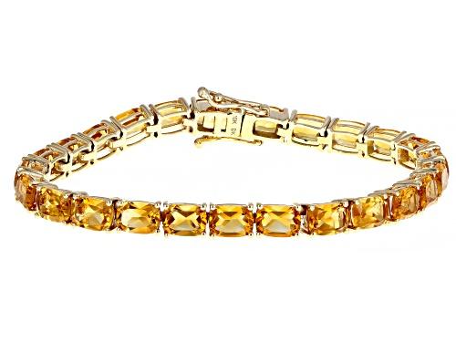 18.06ctw Rectangular Cushion Orange Madeira Citrine 10k Yellow Gold Bracelet - Size 7.25