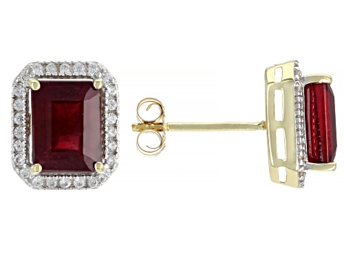 Photo of 4.42ctw Emerald Cut Mahaleo® Ruby With 1.50ctw Round White Zircon 10k Yellow Gold Earrings