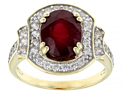 Photo of 3.40ct Oval Red Mahaleo® Ruby With .67ctw Round White Zircon 10k Yellow Gold Ring - Size 8