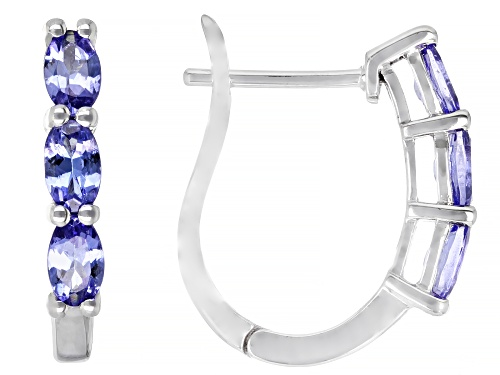 Photo of 1.12ctw Oval Tanzanite Rhodium Over 10k White Gold 3-Stone J-Hoop Earrings