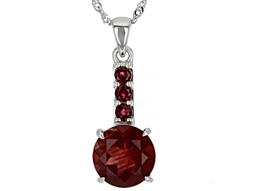 Photo of 1.49ct Red Labradorite With 0.05ctw Round Red Spinel Rhodium Over 10k White Gold Pendant With Chain