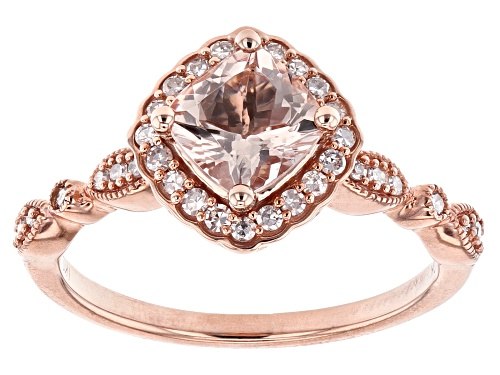 Photo of 0.80ct Square Cushion Cor-de-Rosa Morganite™ With 0.18ctw White Diamonds 10k Rose Gold Ring - Size 7