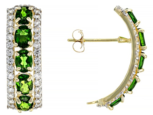 Photo of 1.80ctw Oval Chrome Diopside with .78ctw Round White Zircon 10k Yellow Gold Earrings
