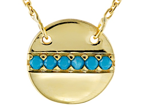 Photo of Turquoise Simulant 10k Yellow Gold Disc 16 Inch Plus 2 Inch Extender Necklace - Size 16