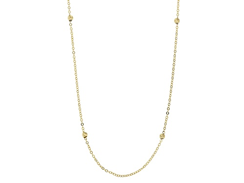 Photo of 10k Yellow Gold Diamond Cut Bead Station 20 Inch Necklace - Size 20