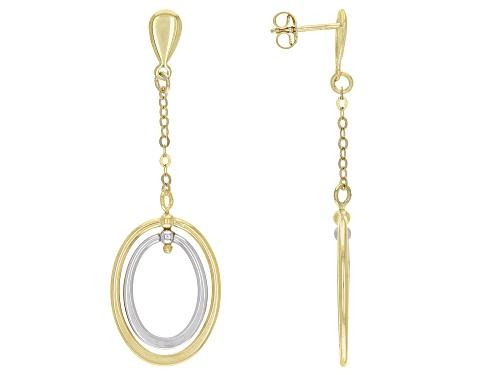 Photo of 10K Two-Tone Double Oval Drop Earrings