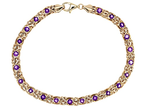 Photo of 2.50 Ctw Amethyst 10k Yellow Gold Byzantine 8 Inch Bracelet - Size 8