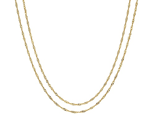 Photo of 10k Yellow Gold Diamond Cut Singapore 18 Inch And 20 Inch Chain Necklace Set Of Two