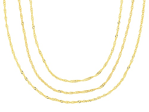 Photo of 10k Yellow Gold Singapore 18 Inch 20 Inch 24 Inch Chain Necklace Set Of Three