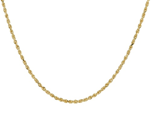 Photo of 14k Yellow Gold Diamond Cut 2.1mm Rope 20 Inch Chain Necklace - Size 20