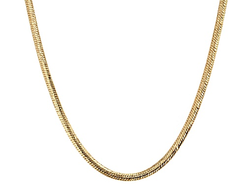 Photo of 10k Yellow Gold Flex Herringbone Diamond Cut 18 Inch Necklace - Size 18