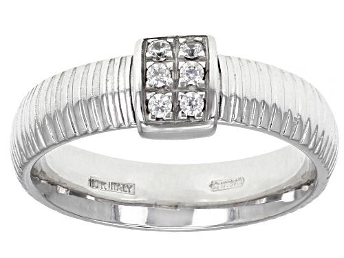 Photo of Bella Luce® 0.15ctw Diamond Simulant Rhodium Over 10k White Gold Ribbon Band Ring - Size 6