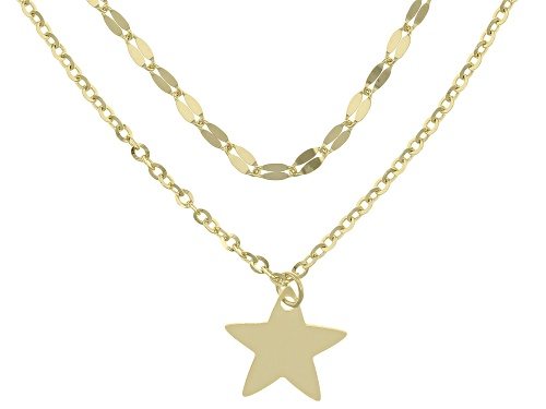 Photo of 10k Yellow Gold Multi-Row Star 16 Inch Plus 4 Inch Extender Necklace - Size 16