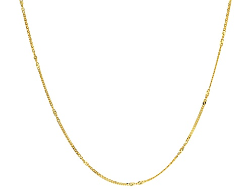 Photo of 10k Yellow Gold Twisted Curb With Singapore Station 20 Inch Chain Necklace - Size 20