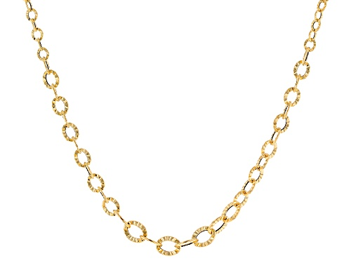 Photo of 10k Yellow Gold Hollow Diamond Cut Graduated Flat Rolo 18 inch Necklace - Size 18