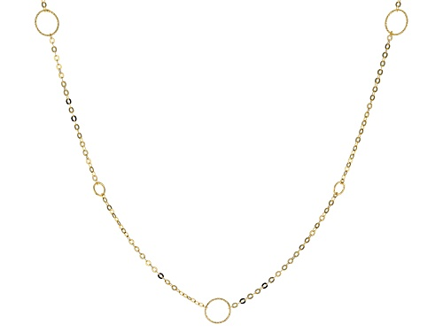 Photo of 10k Yellow Gold Circle Station 24 inch Necklace - Size 24