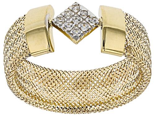 Photo of Bella Luce® 0.09ctw Diamond Simulant Square 10k Yellow Gold Medium Mesh Ring