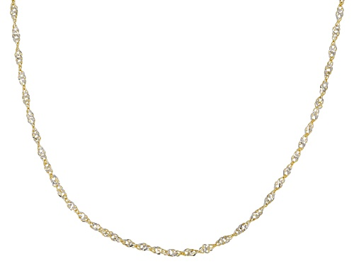 Photo of 10K Two-Tone 1.3MM Singapore Chain Necklace 18 Inch - Size 18