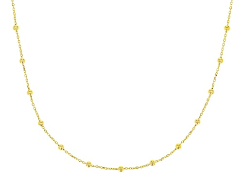 Photo of 10K Yellow Gold .5MM Cable Chain With Bead Station Necklace 18 Inch - Size 18