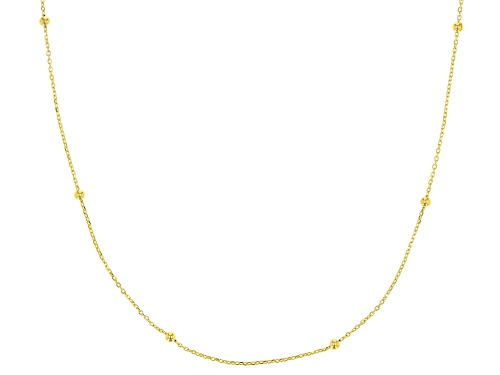 Photo of 10K Yellow Gold .5MM Bead Station Cable Chain Necklace 18 Inch - Size 18