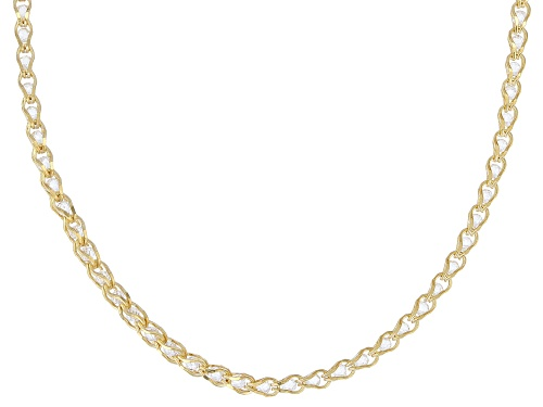 Photo of 10K Yellow Gold 1.7MM Round White Crystal Cage Link Chain Necklace 20 Inch - Size 20