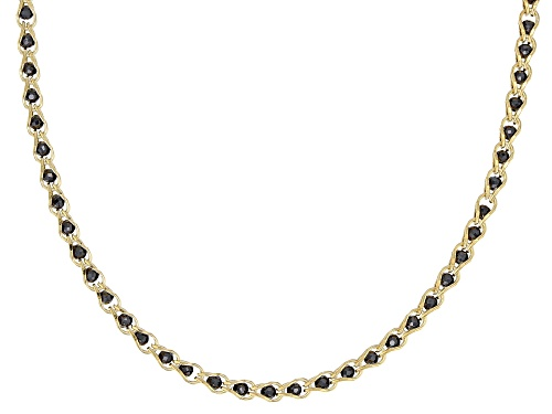 Photo of 10K Yellow Gold 1.7MM Round Black Crystal Cage Link Chain Necklace 20 Inch - Size 20