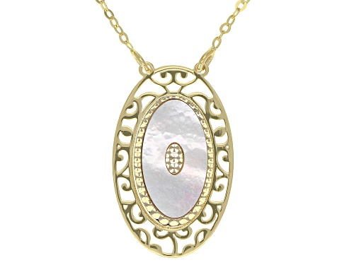 Photo of 10K Yellow Gold Flat Rolo 20 Inch Chain Necklace With Mother Of Pearl Pendant - Size 20