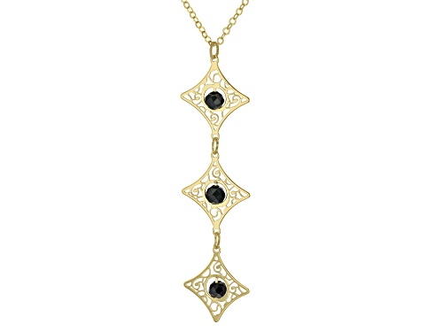 Photo of 10K Yellow Gold 18 Inch Flat Rolo Chain Necklace With Black Diamond Simulant Laser Cut Pendant - Size 18