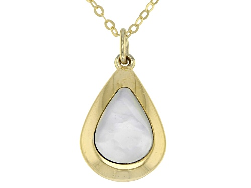Photo of 10K Yellow Gold 18 Inch Flat Rolo Chain Necklace With Mother Of Pearl Teardrop Shape Pendant - Size 18