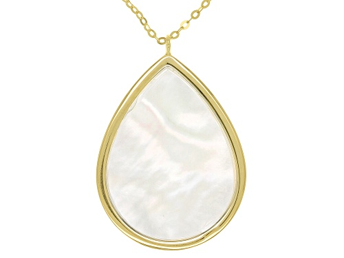 Photo of White Mother Of Pearl 10K Yellow Gold Drop 18 Inch Necklace - Size 18