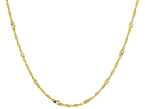 Photo of 10K Yellow Gold 1MM Singapore Chain Necklace 18 inch - Size 18